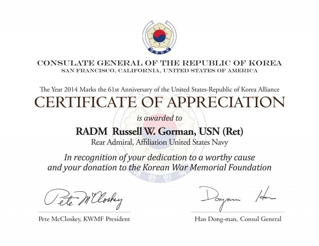 The Certificate of Appreciation